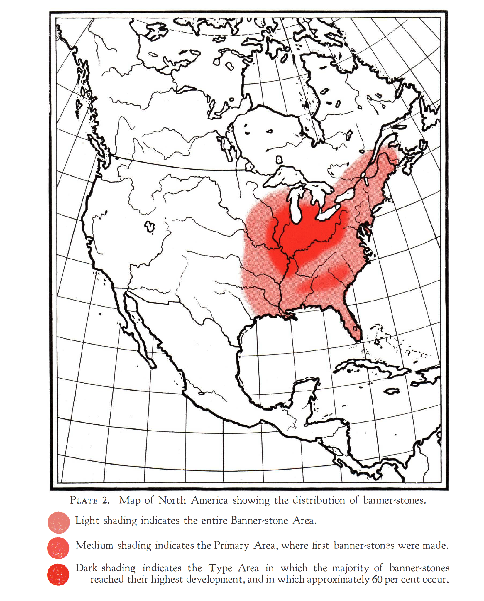 Map of North America showing the distribution of banner-stones